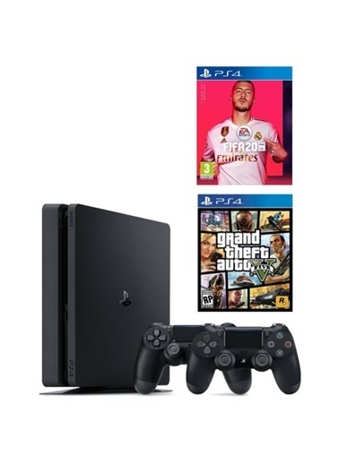 Sony Ps4 Slim 500 Gb Oyun Konsolu + 2. Ps4 Kol + Ps4 Fıfa 2020 + Gta 5 Renkli